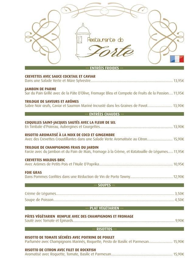 Menu à la Carte - Restaurante do Forte - Français