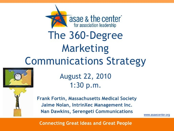 The 360-Degree Marketing Communications Strategy<br />August 22, 20101:30 p.m.<br />Frank Fortin, Massachusetts Medical So...