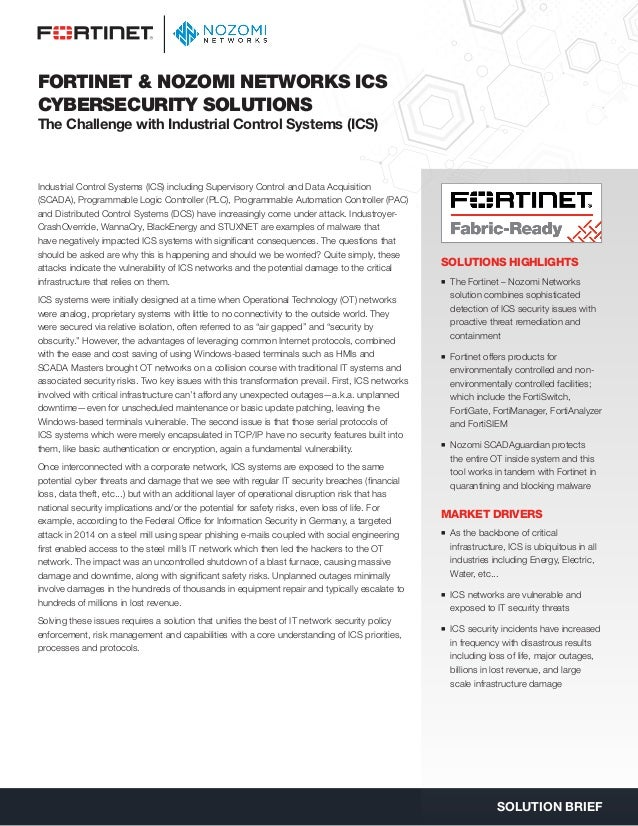 Fortinet nozomi-networks-secure-ics