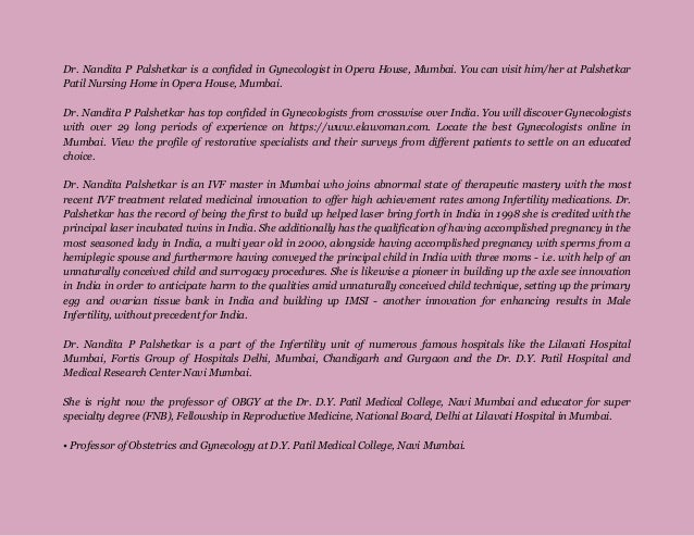 Fortis Bloom Ivf Centre and Dr Nandita Palshetkar