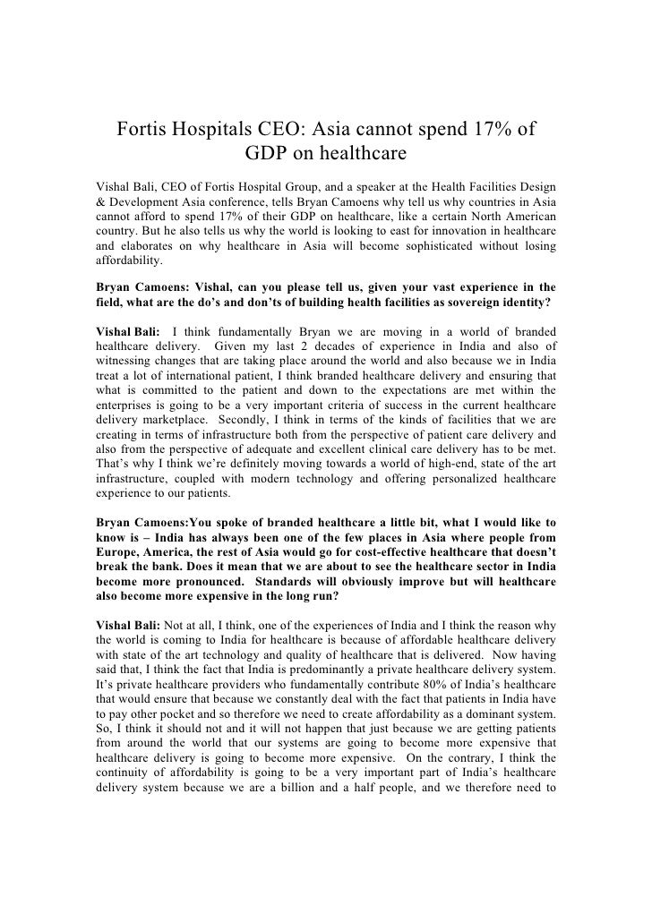 Fortis Hospitals CEO: Asia cannot spend 17% of                    GDP on healthcare Vishal Bali, CEO of Fortis Hospital Gr...