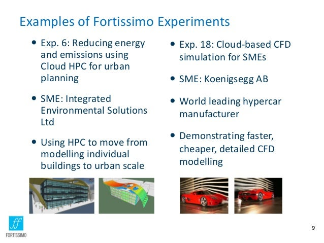 Examples of Fortissimo Experiments  Exp. 6: Reducing energy and emissions using Cloud HPC for urban planning   Exp. 18: ...