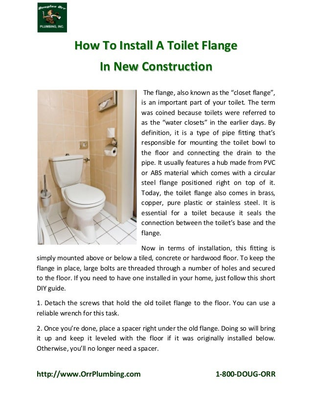Fort Lauderdale Plumber Shares How To Install A Toilet Flange In New