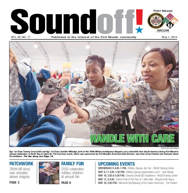 Patchwork 780th MI dons new shoulder sleeve insignia page 3 UPCOMING EVENTS Wednesday, 9 a.m.-1 p.m.: Military Spouse Job ...