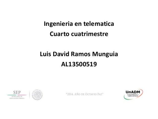 Ingenieria en telematica Cuarto cuatrimestre Luis David Ramos Munguia AL13500519