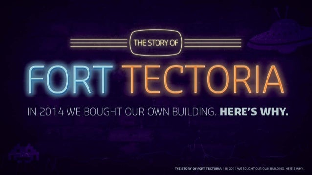 """— THE STORY OF _   IEORT TE""""  IN 2014 WE BOUGHT OUR OWN BUILDING.  If-I  I I9  THE STORY OF FORTTECTORIA IN 20'
