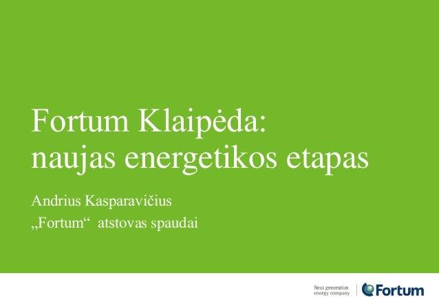 """Fortum Klaipėda: naujas energetikos etapas Andrius Kasparavičius """"Fortum"""" atstovas spaudai"""