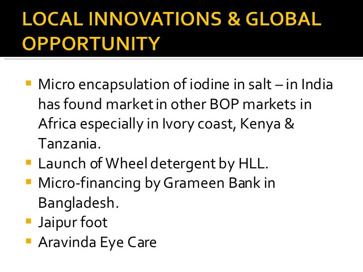<ul><li>Micro encapsulation of iodine in salt – in India has found market in other BOP markets in Africa especially in Ivo...