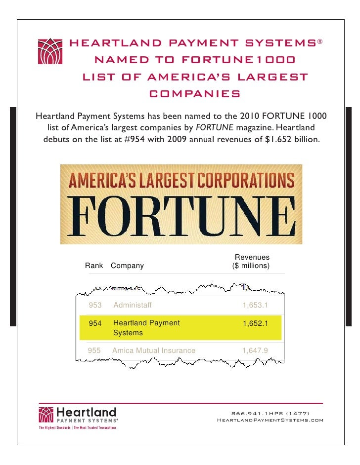 HEARTLAND PAYMENT SYSTEMS®            NAMED TO FORTUNE1000          LIST OF AMERICA'S LARGEST                  COMPANIES H...
