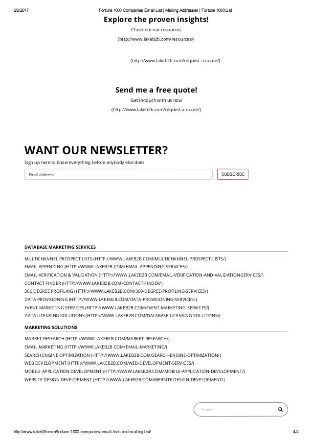 Fortune 1000 Companies executives email list