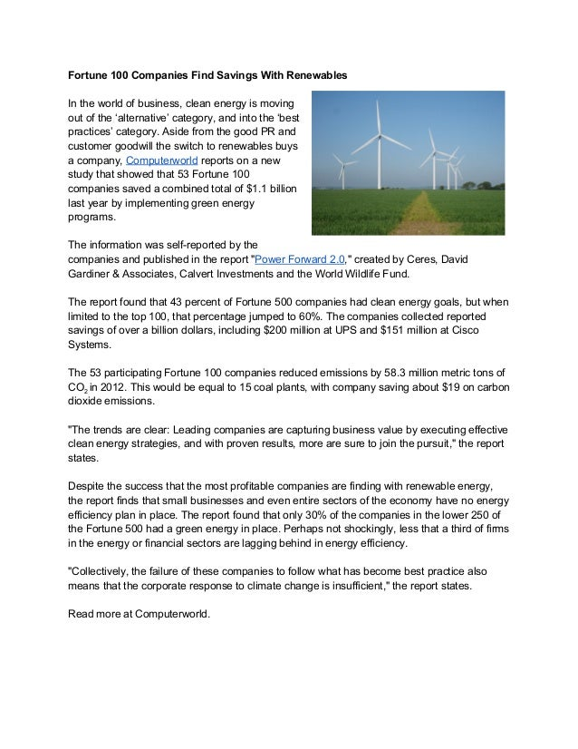 Fortune100CompaniesFindSavingsWithRenewables  Intheworldofbusiness,cleanenergyismoving outofthe'altern...