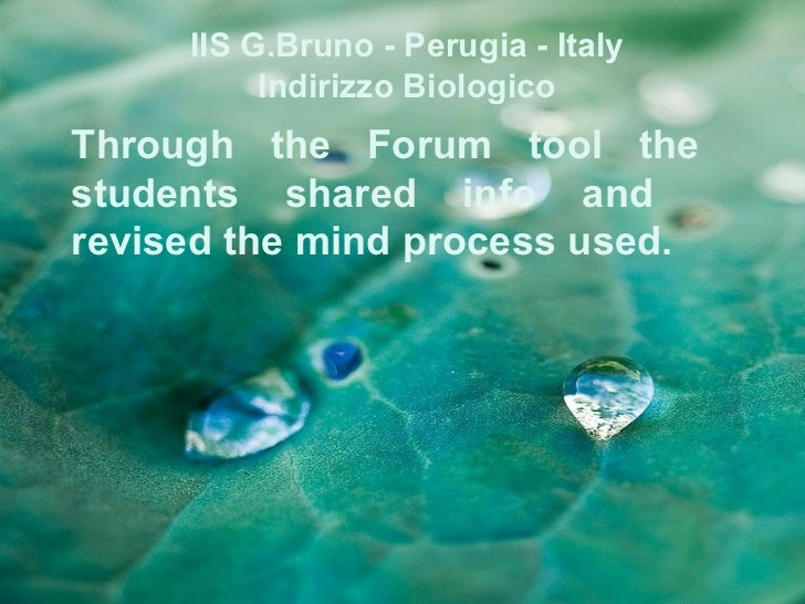 IIS G.Bruno - Perugia - Italy          Indirizzo BiologicoThrough the Forum tool thestudents shared info andrevised the mi...