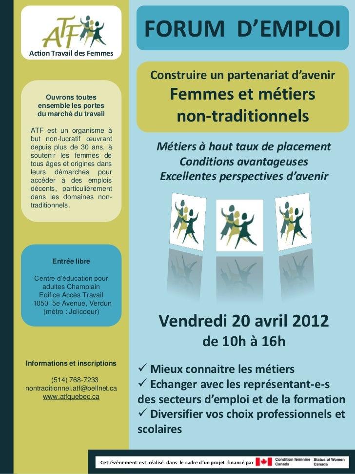 FORUM D'EMPLOI Action Travail des Femmes                                            Construire un partenariat d'avenir    ...