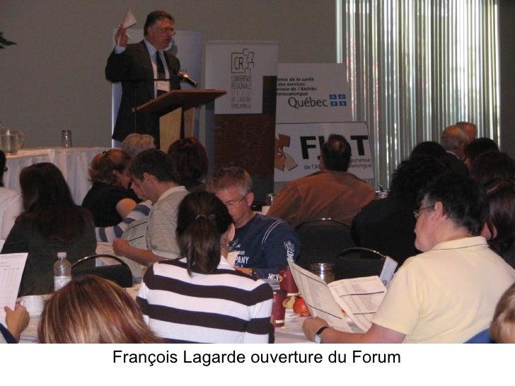 Fran çoi s Lagarde ouverture du Forum