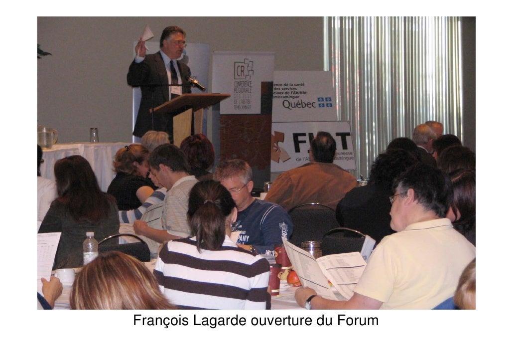 François Lagarde ouverture du Forum