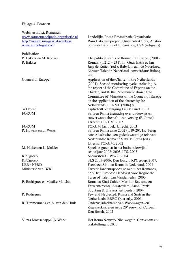 FORUM advies Binnenlandse Zaken over Romani Talen (April 2007)
