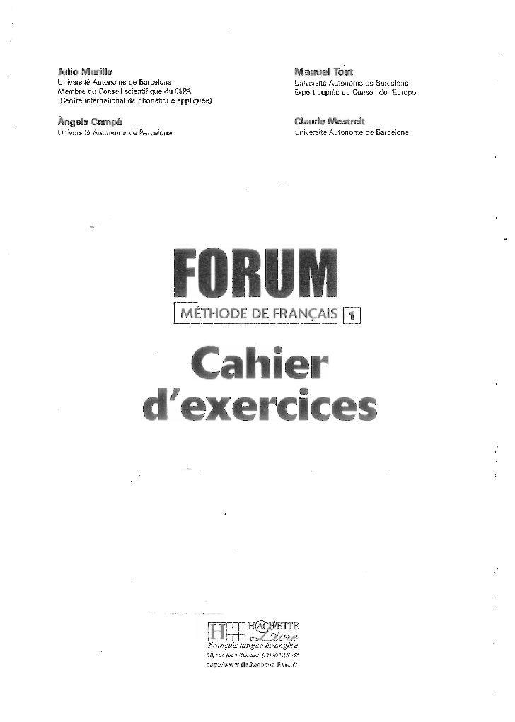 Forum cahier de exercises 1 Slide 3