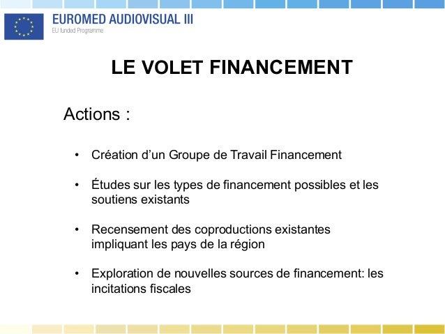 LE VOLET FINANCEMENT Actions : • Création d'un Groupe de Travail Financement • Études sur les types de financement possi...