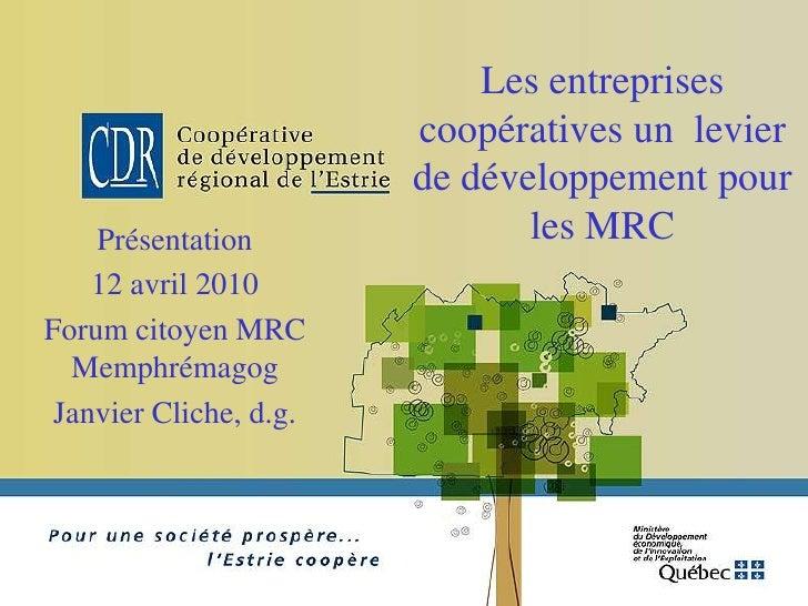 Les entreprises                         coopératives un levier                         de développement pour     Présentat...