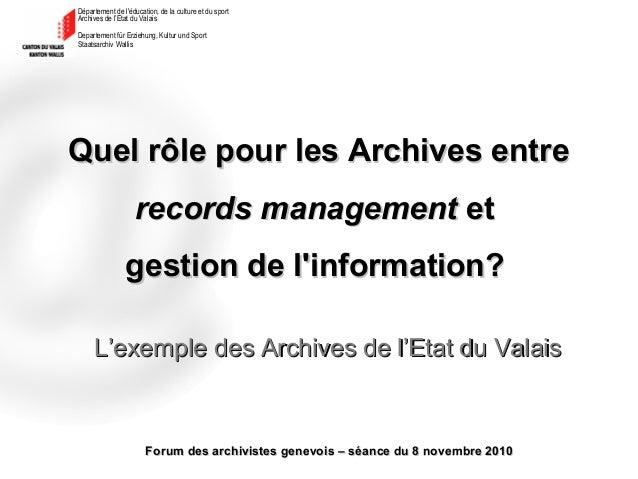 Département de l'éducation, de la culture et du sport Archives de l'Etat du Valais Departement für Erziehung, Kultur und S...