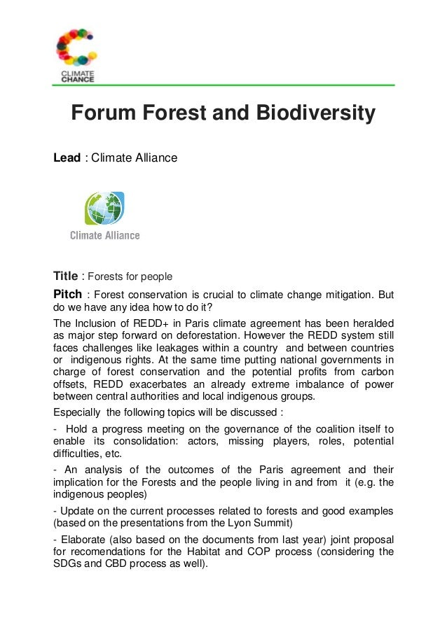 Forum Forest and Biodiversity Lead : Climate Alliance Title : Forests for people Pitch : Forest conservation is crucial to...