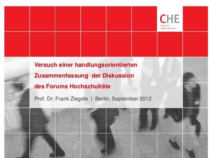 05.10.2012           Versuch einer handlungsorientierten           Zusammenfassung der Diskussion           des Forums Hoc...