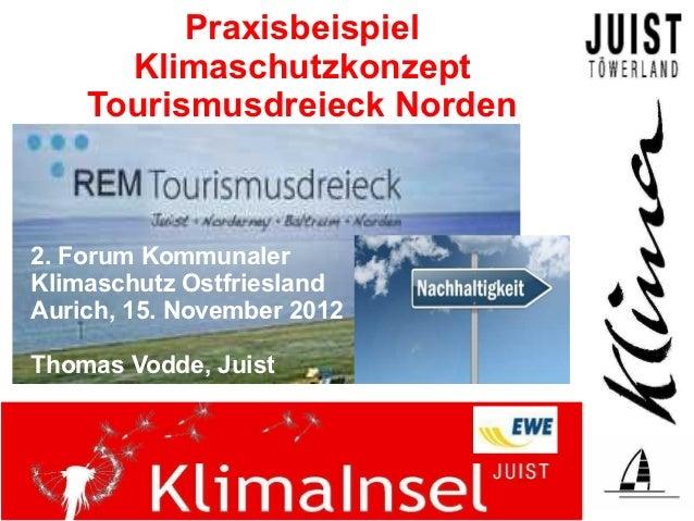 Praxisbeispiel      Klimaschutzkonzept    Tourismusdreieck Norden2. Forum KommunalerKlimaschutz OstfrieslandAurich, 15. No...