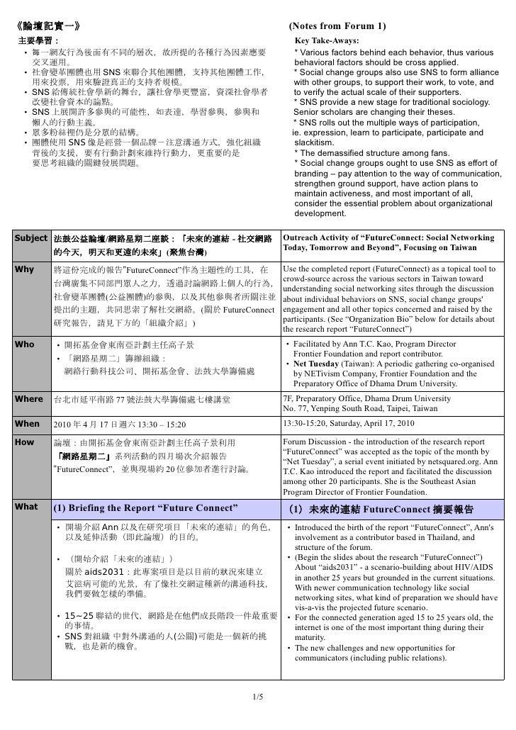 《論壇記實一》                                                    (Notes from Forum 1) 主要學習:                                     ...