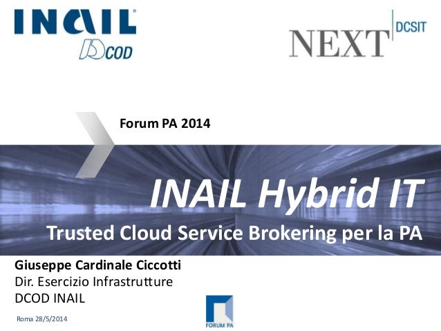 Roma 28/5/2014 INAIL Hybrid IT Trusted Cloud Service Brokering per la PA Forum PA 2014 Giuseppe Cardinale Ciccotti Dir. Es...