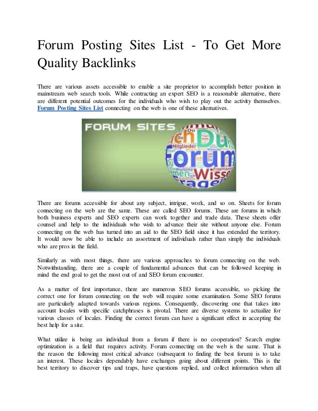 Forum posting sites list - To get more quality backlinks