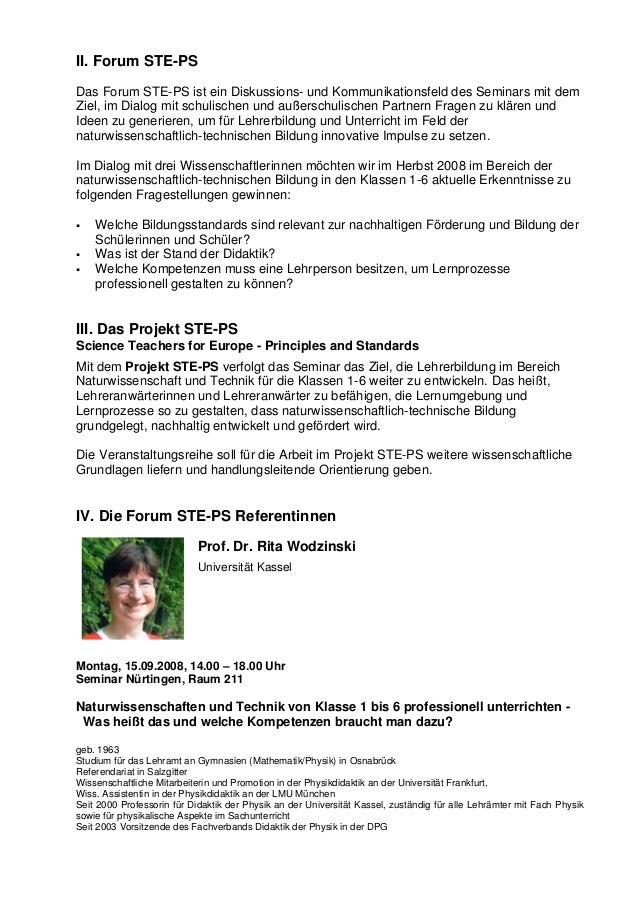 II. Forum STE-PS Das Forum STE-PS ist ein Diskussions- und Kommunikationsfeld des Seminars mit dem Ziel, im Dialog mit sch...
