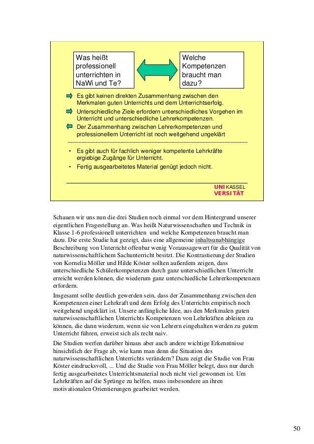 50 UNIKASSEL VERSITÄT • Es gibt keinen direkten Zusammenhang zwischen den Merkmalen guten Unterrichts und dem Unterrichtse...