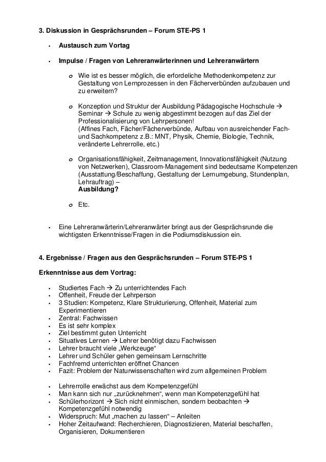 3. Diskussion in Gesprächsrunden – Forum STE-PS 1 Austausch zum Vortag Impulse / Fragen von Lehreranwärterinnen und Lehrer...
