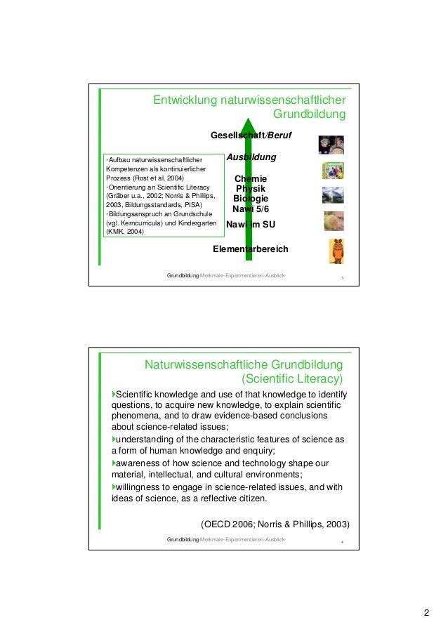 2 3 Entwicklung naturwissenschaftlicher Grundbildung Gesellschaft/Beruf Ausbildung Chemie Physik Biologie Nawi 5/6 Nawi im...