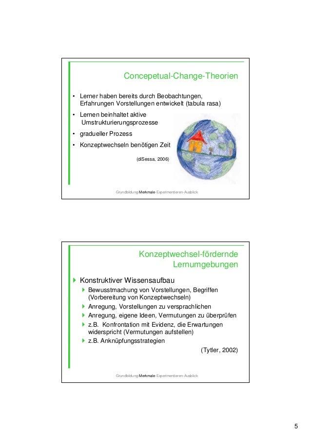 5 Concepetual-Change-Theorien • Lerner haben bereits durch Beobachtungen, Erfahrungen Vorstellungen entwickelt (tabula ras...