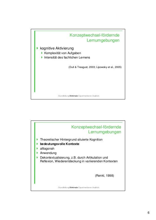 6 Konzeptwechsel-fördernde Lernumgebungen kognitive Aktivierung Komplexität von Aufgaben Intensität des fachlichen Lernens...