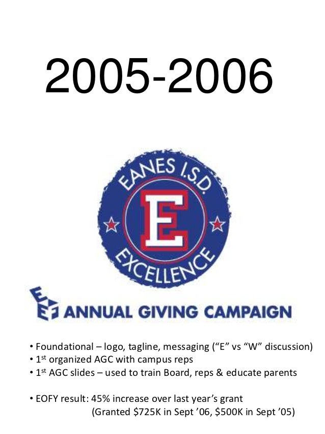 """2005-2006 • Foundational – logo, tagline, messaging (""""E"""" vs """"W"""" discussion) • 1st organized AGC with campus reps • 1st AGC..."""