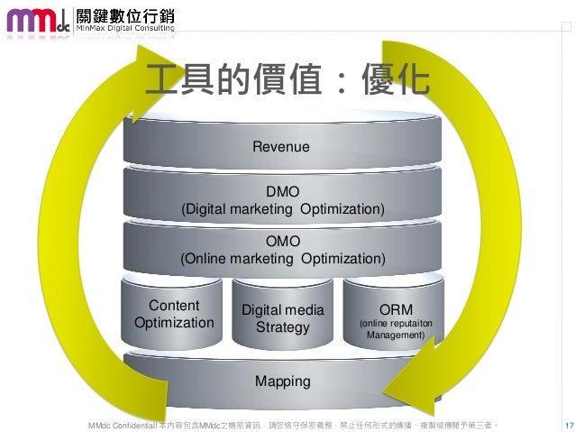 工具的價值:優化                         Revenue                            DMO              (Digital marketing Optimization)     ...