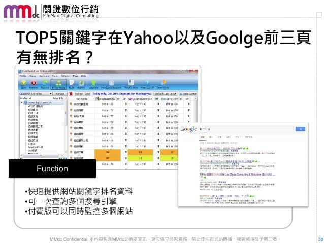 TOP5關鍵字在Yahoo以及Goolge前三頁有無排名? Function•快速提供網站關鍵字排名資料•可一次查詢多個搜尋引擎•付費版可以同時監控多個網站    MMdc Confidential! 本內容包含MMdc之機密資訊,請您恪守保密...