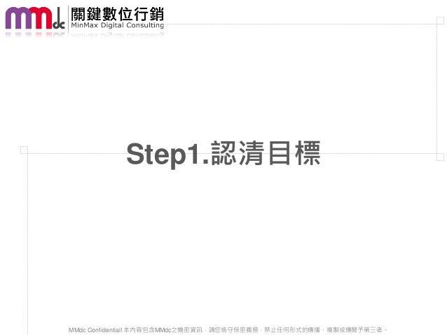 Step1.認清目標MMdc Confidential! 本內容包含MMdc之機密資訊,請您恪守保密義務,禁止任何形式的傳播、複製或傳閱予第三者。