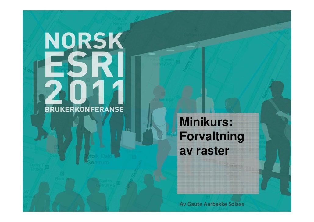 Minikurs:Forvaltningav rasterAv Gaute Aarbakke Solaas