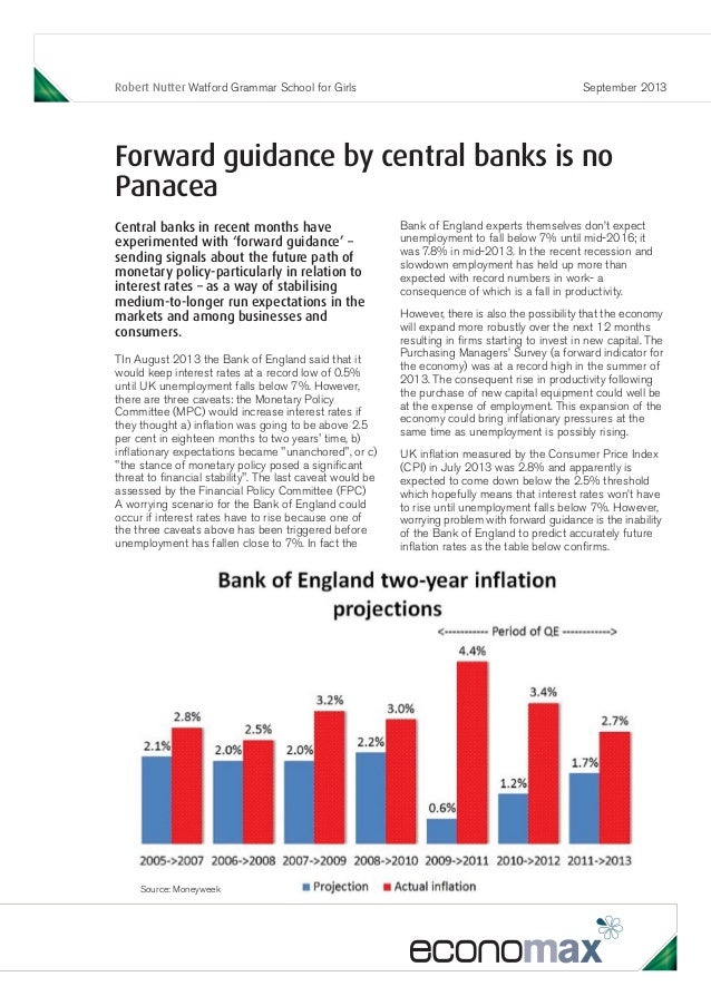 Robert Nutter Watford Grammar School for Girls September 2013 Forward guidance by central banks is no Panacea Central bank...