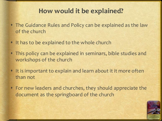 Forward in faith guidance rules and policy, by Cynthia Mahwendepi