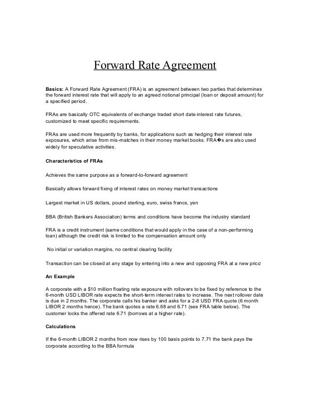 Forward Rate Agreement Calculation