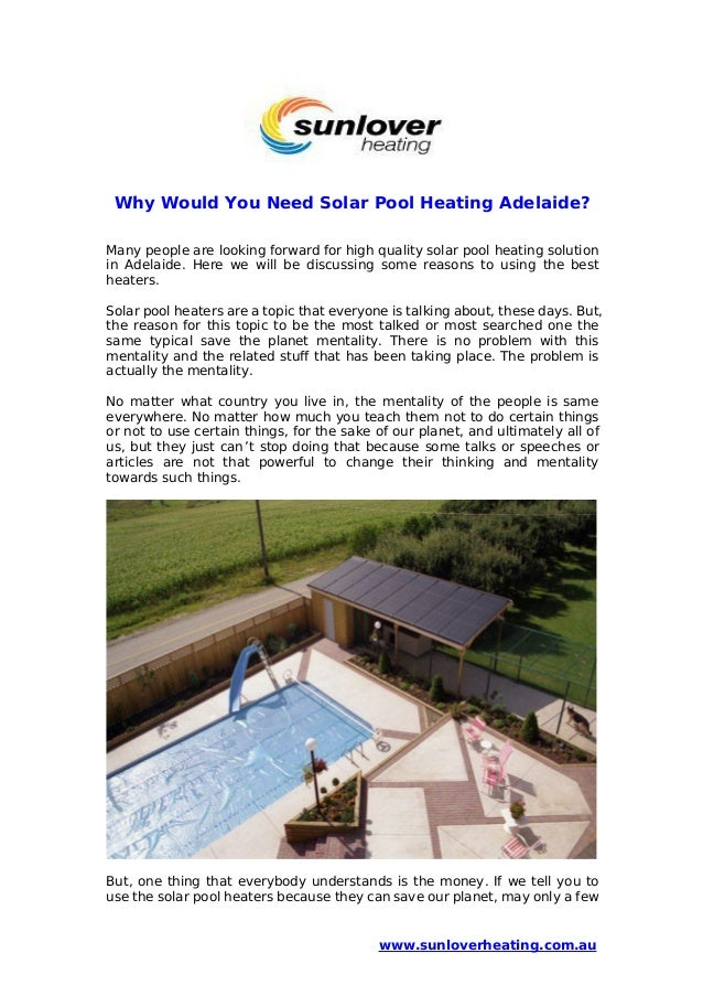 For What Reason Would You Need Solar Pool Heating Adelaide