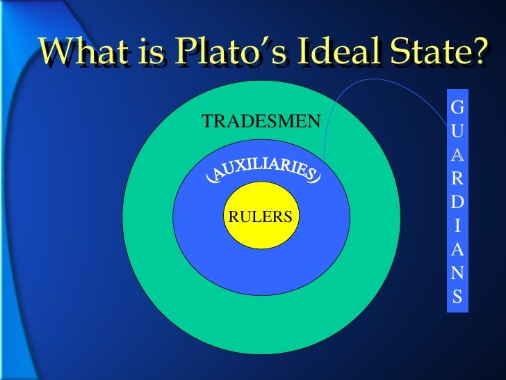 platos ideal state Plato's ideal state as embodied and described in his dialogue, the republic, is, as plato says, a pattern laid up in heaven plato makes it clear in various places in the dialogue, that his republic can never be realized on earth for exampl.
