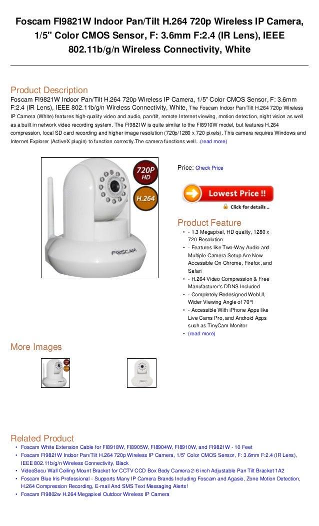 Foscam fi9821 w indoor pantilt h 264 720p wireless ip camera, 15 colo…