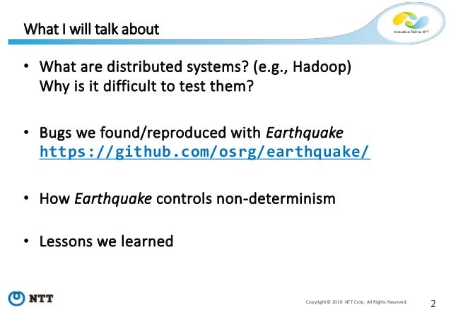Tackling non-determinism in Hadoop - Testing and debugging distributed systems with Earthquake - Slide 2