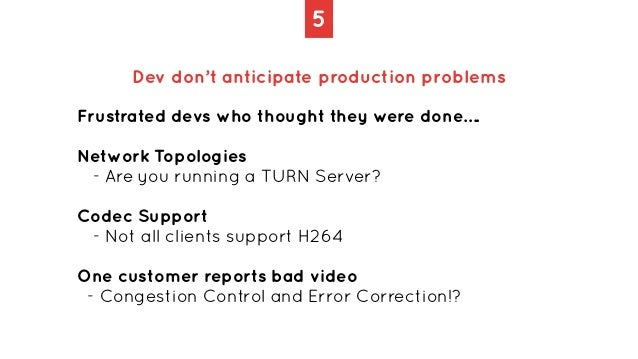 5 Dev don't anticipate production problems Frustrated devs who thought they were done….   Network Topologies   - Are you r...