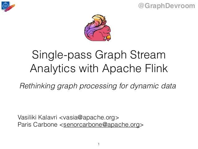 @GraphDevroom Single-pass Graph Stream Analytics with Apache Flink Rethinking graph processing for dynamic data Vasiliki K...
